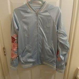 Forever 21 Contemporary silk floral bomber